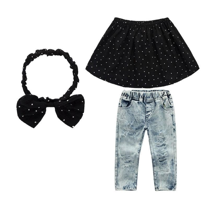 Brielle Top and Pants Set | Fashion 2020 Kids Girls Off Shoulder Polka Dot Tops +Hole Jeans Pants Denim +Headband 3Pcs Clothes Outfits Set - FLJ CORPORATIONS