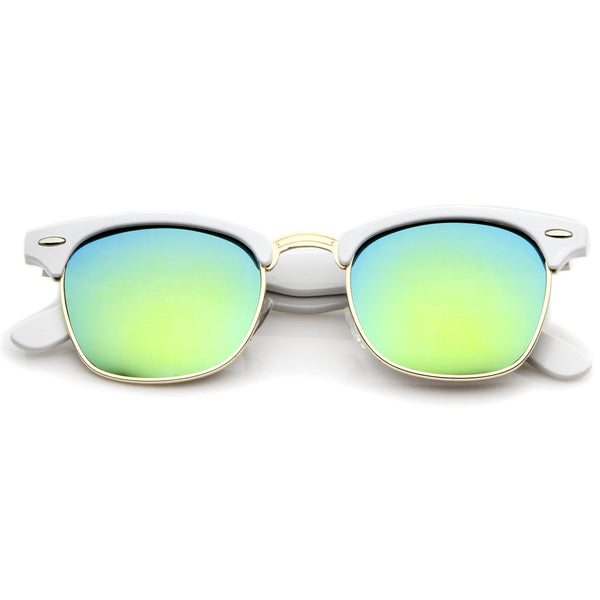 zeroUV - Premium Half Frame Colored Mirror Lens Horn Rimmed Sunglasses 50mm - 50mm - FLJ CORPORATIONS