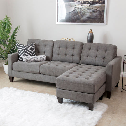 Devon & Claire Westmount Grey Fabric Reversible Sectional