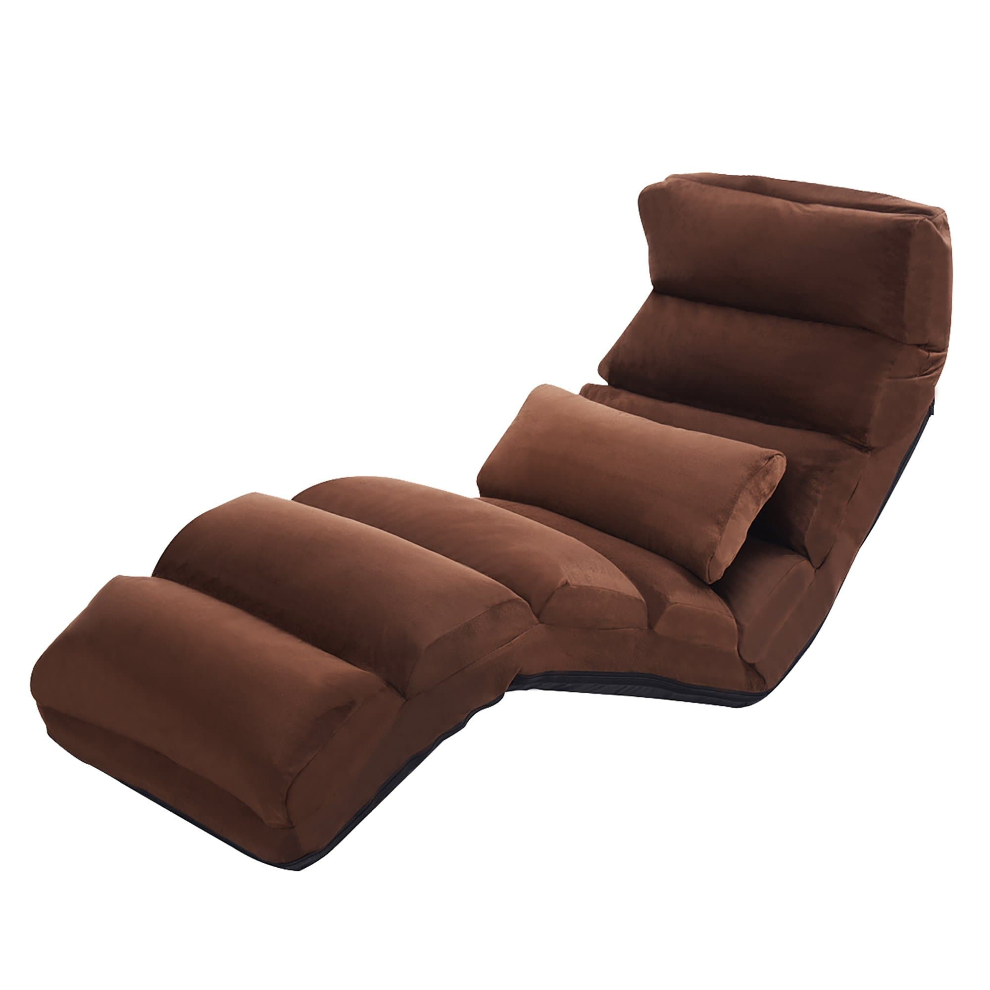 Costway Folding Lazy Sofa Chair Stylish Sofa Couch Beds Lounge Chair W/Pillow Coffee New - FLJ CORPORATIONS