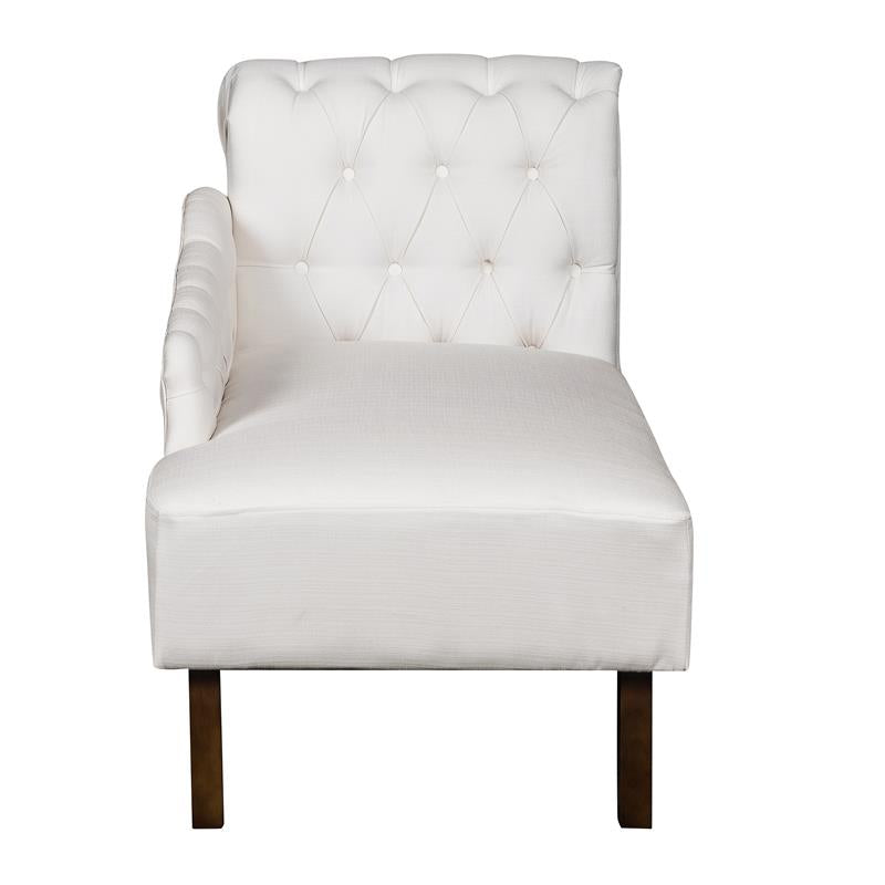Tufted Chesterfield Back Chaise Lounge in Soft Cream - FLJ CORPORATIONS