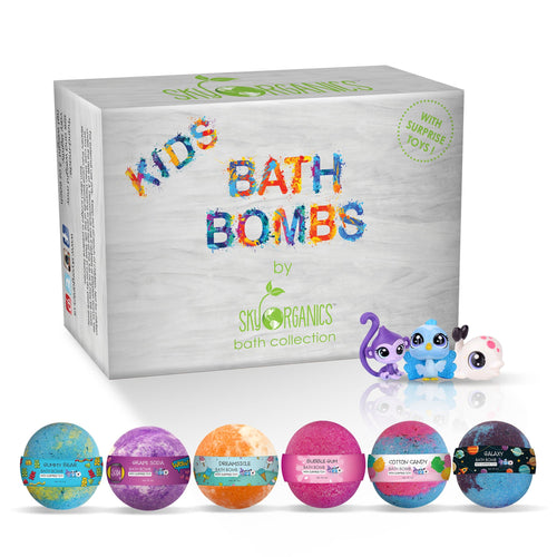 Sky Organics Nourishing Pure Essential Fragrance Kids Playful Rainbow Fizzing Surprise Toy Bath Bombs - 6 Pack - FLJ CORPORATIONS