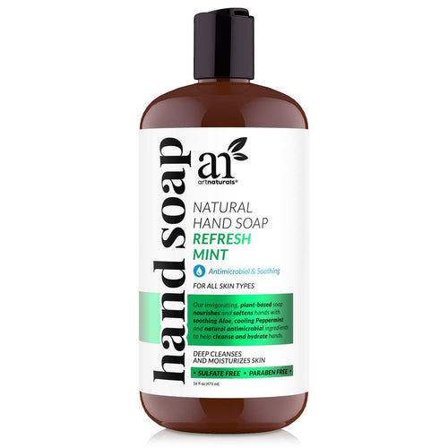 Artnaturals Liquid Hand Soap 16 Fl Oz, Peppermint Scented Natural Healthy Hydrating Hand wash with Aloe Vera - Antimicrobial - FLJ CORPORATIONS