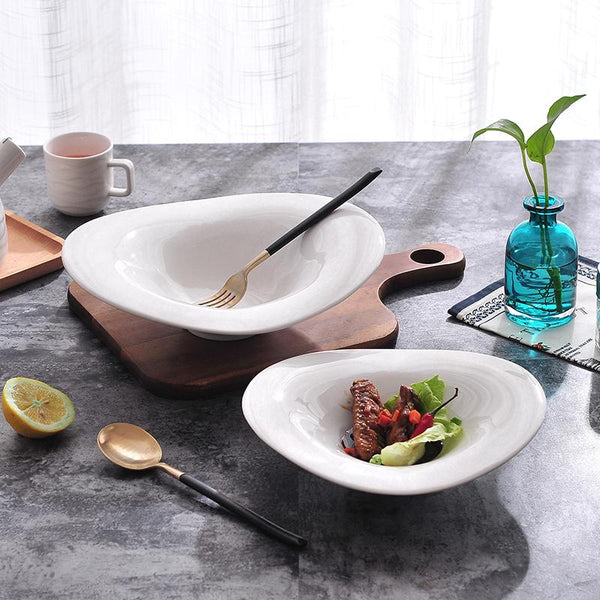 1PC 10INCH Dish Ramen bowl Dessert Dish Creative Ceramic Bowl Rice Pure White Noodle Soup Salad Dish Tableware