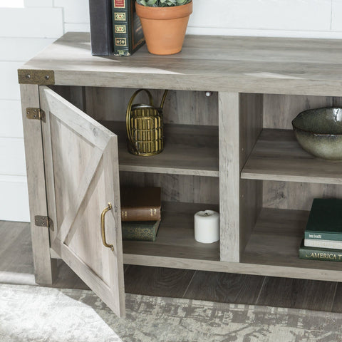 "Manor Park Modern Farmhouse Barn Door TV Stand for TVs up to 78"", Grey Wash - FLJ CORPORATIONS"