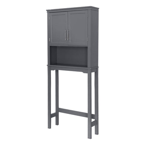 Two-Door Toilet Cabinet Grey Bathroom Over the Toilet Space Saver Storage Cabinet Shelf Organizer Wood Door