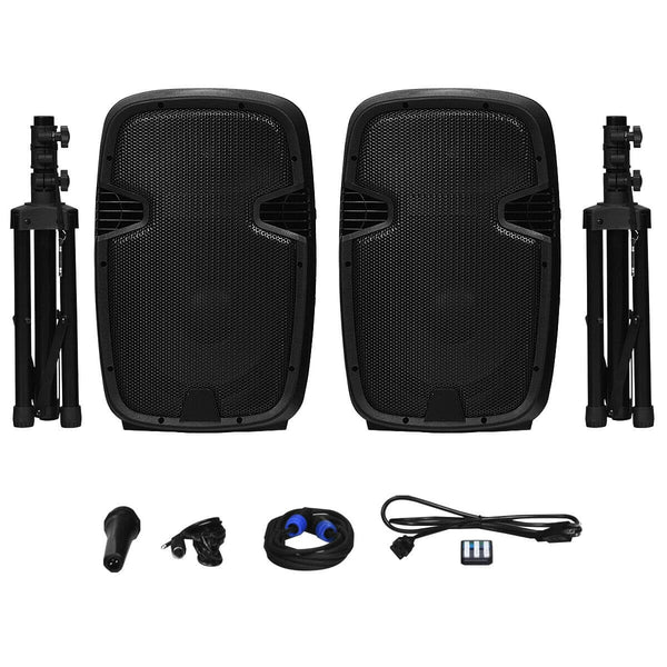 Costway Dual 12'' 2-way 1600W Powered Speakers w/ Bluetooth + Mic + Speaker Stands + Control + Cables - FLJ CORPORATIONS
