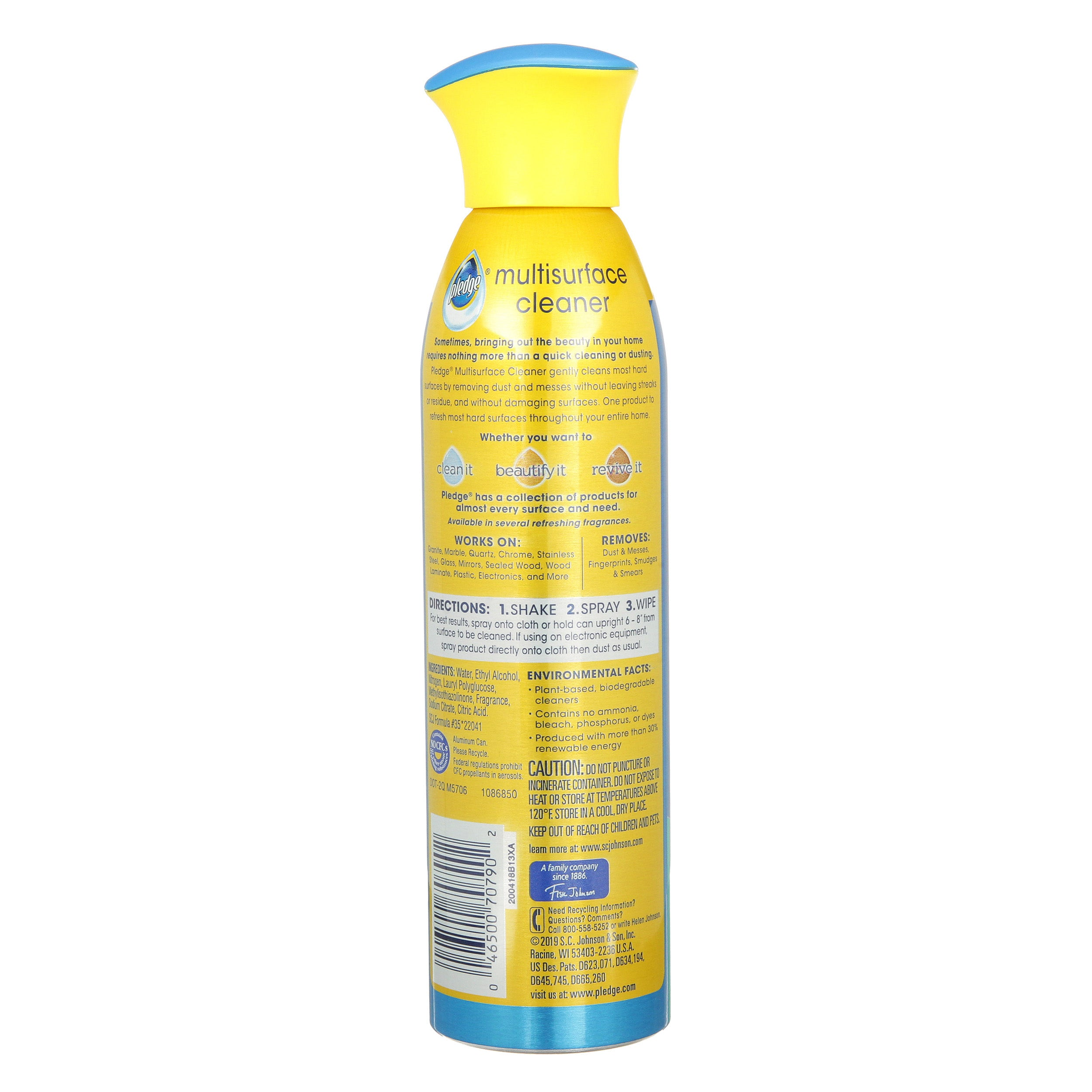 Pledge Multisurface Cleaner Aerosol, Rainshower, 9.7 oz - FLJ CORPORATIONS