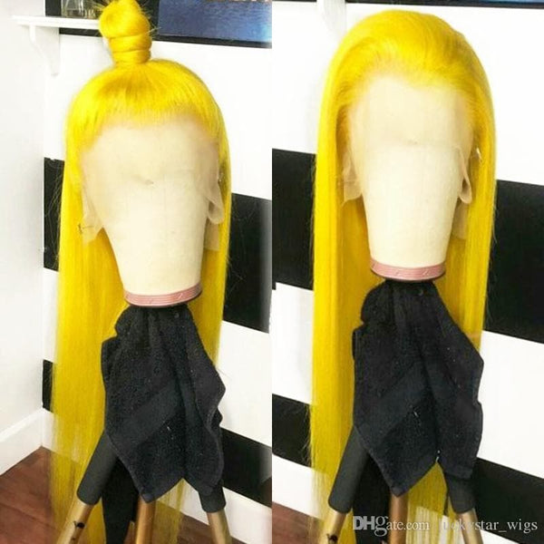 Hot Sexy Yellow Color Long Straight Synthetic Hand Tied Lace Front Wig Glueless Heat Resistant Fiber Hair Natural Hairline For White Women - FLJ CORPORATIONS