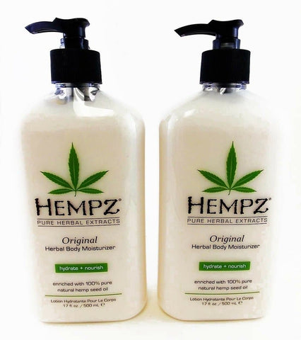 LOT 2 Hempz Original Herbal Body Moisturizer Lotion 17 oz - FLJ CORPORATIONS