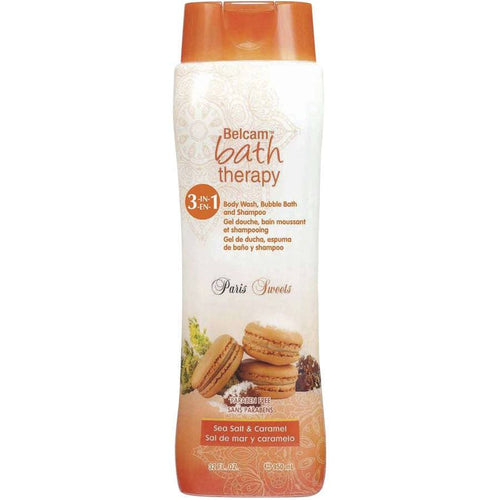 (2 Pack) Belcam Bath Therapy Paris Sweets Sea Salt & Caramel 3-in-1 Body Wash, Bubble Bath and Shampoo, 32 fl oz - FLJ CORPORATIONS