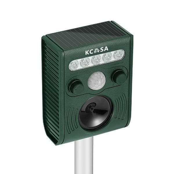 KCASA KC-JK369 Garden Ultrasonic PIR Sensor Solar Animal Dispeller Strong Flashlight Dog Repeller - FLJ CORPORATIONS