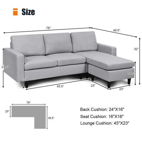 Costway Convertible Sectional Sofa Couch L-Shaped Couch Massage Back Cushion BeigeGrayDark Gray