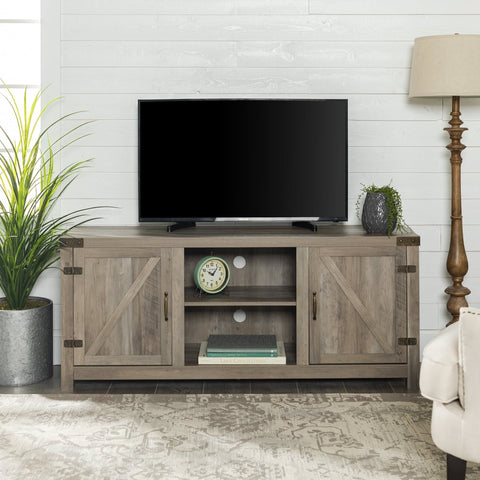 "Manor Park Modern Farmhouse Barn Door TV Stand for TVs up to 65"" - Gray Wash - FLJ CORPORATIONS"