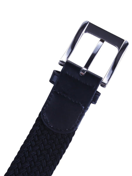 HDE Mens Elastic Braided Web Belt Woven with Leather Accents and Silver Buckle (Black, Medium) - FLJ CORPORATIONS