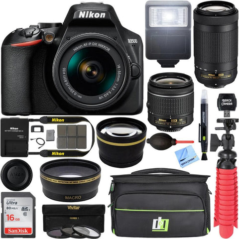 Nikon D3500 DSLR Camera w/ AF-P DX 18-55mm & 70-300mm Zoom Lens REFURB 16GB Bundle - FLJ CORPORATIONS