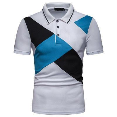 Brand Men 'S Polo Shirts Fashion Stitching Design Lapel Short Sleeve Polo Shirt Cotton Casual Male Polos Patchwork Asian size