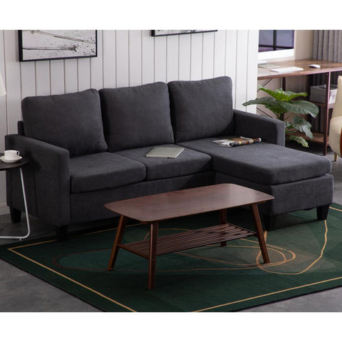 Ktaxon Reversible Sectional Sofa Couch for Small Apartment L Shape Sofa Couch Corner Couch (Dark Grey)
