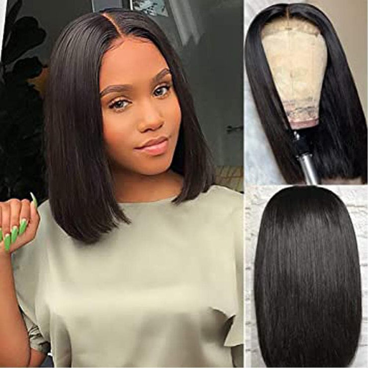 4x4 Lace Closure BoB Straight Hair Wigs Brazilian Virgin Hair Straight Lace Frontal Human Hair Wigs Swiss Lace Frontal Wig 9A Grade - FLJ CORPORATIONS