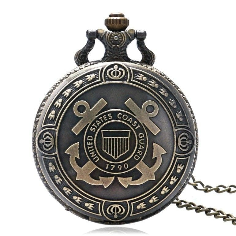 Hot Sale Bronze United States Coast Guard 1790 Theme Pocket Watch Men Navy Creative Gift for Women Fob Watches - FLJ CORPORATIONS