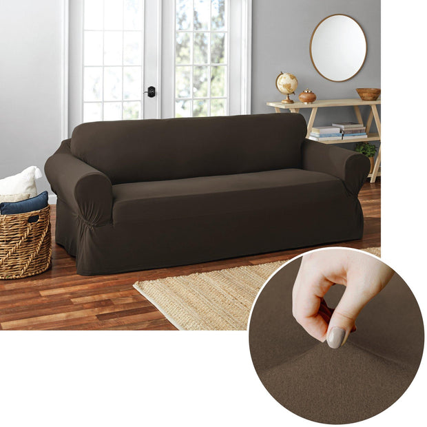 Mainstays 1-Piece Soft Touch Stretch Sofa Slipcover, Brown