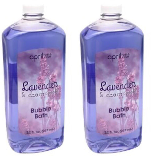 2 Packs April Bath & Shower Lavender and Chamomile Bubble Bath Refills, 32 fl.oz.Bottle Each - FLJ CORPORATIONS
