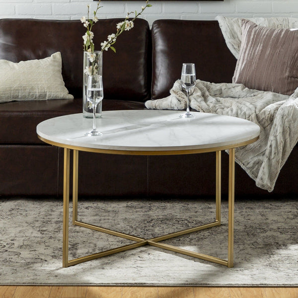 Daisy Faux Marble and Gold Round Coffee Table by Desert Fields - FLJ CORPORATIONS