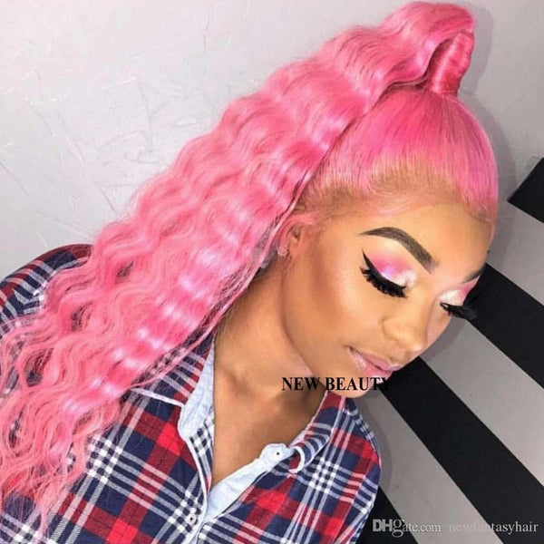 Fashion perruque Pink color brazilian full Lace Front Wig deep Curly Hand Tied Heat Resistant water wave synthetic wig For White Women - FLJ CORPORATIONS