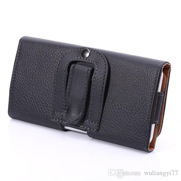 Universal Horizontal Man's PU Leather Holster cellphone Pouch Case with Belt Clip for iphone 6s plus and more other cellphone - FLJ CORPORATIONS