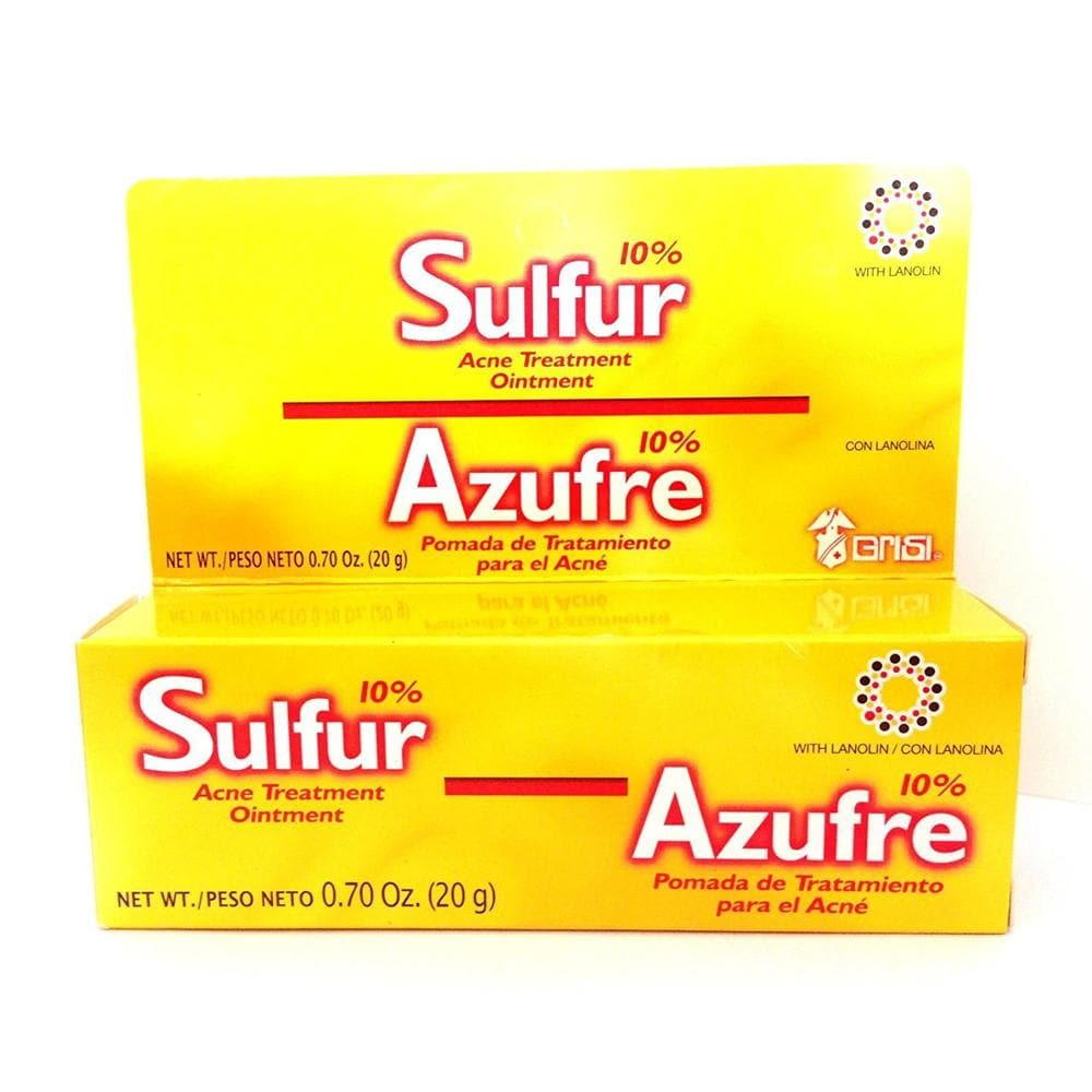 Grisi Sulfur Acne Treatment Ointment. Acne Spots, Blackheads and Blemishes Removal. With Lanolin. 0.70 Oz / 20 g. Pack of 3 - FLJ CORPORATIONS