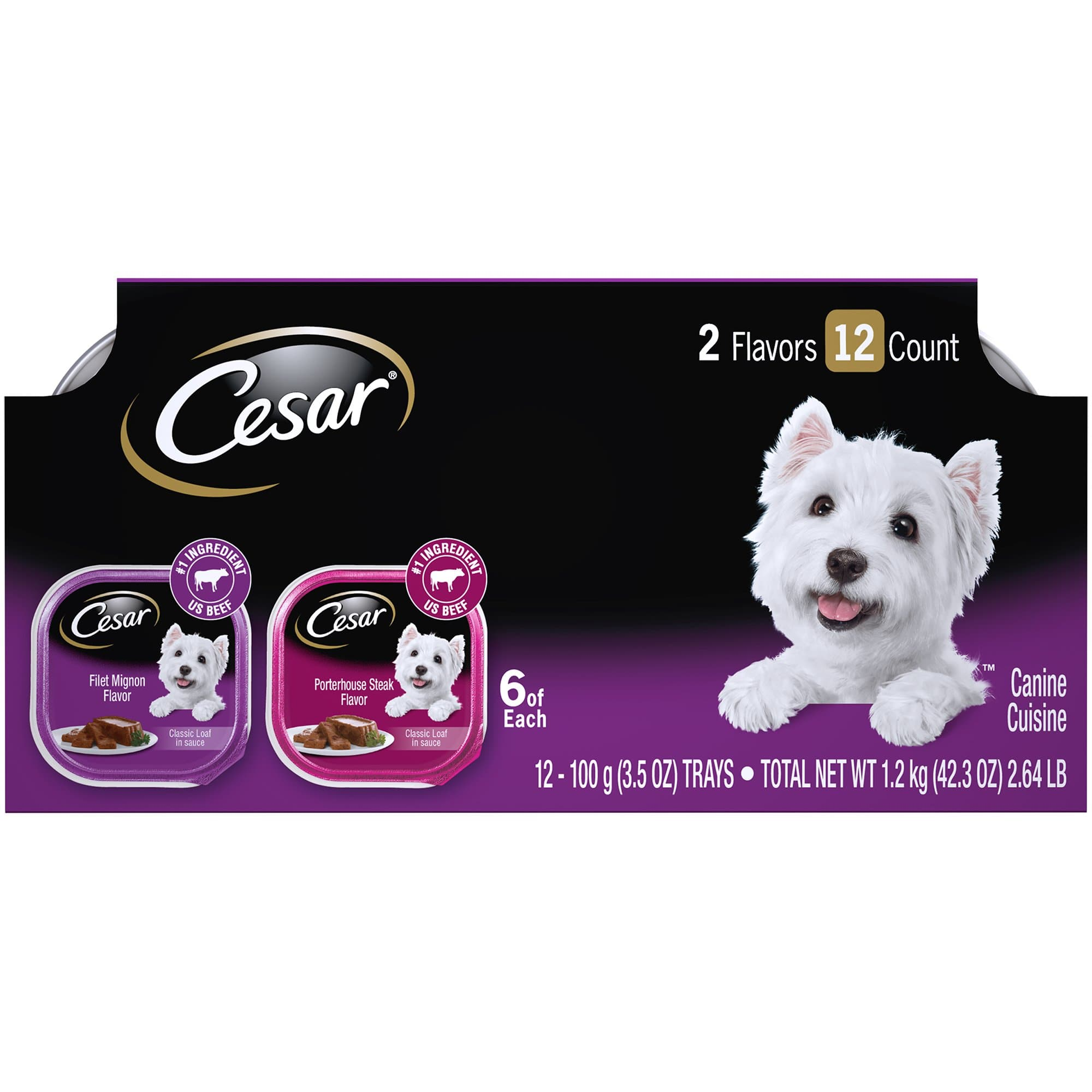 (12 Pack) CESAR Soft Wet Dog Food Classic Loaf in Sauce Filet Mignon and Porterhouse Steak Flavors Variety Pack, 3.5 oz. Easy Peel Trays - FLJ CORPORATIONS