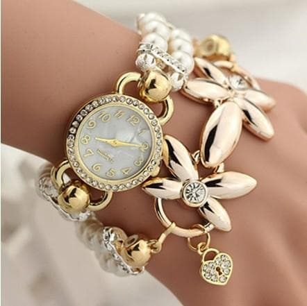 Luxury Pearl Bracelet Wristwatch Elegant Flowers Rhinestone Quartz Watch Women Ladies Casual Watch relogio feminino watches - FLJ CORPORATIONS