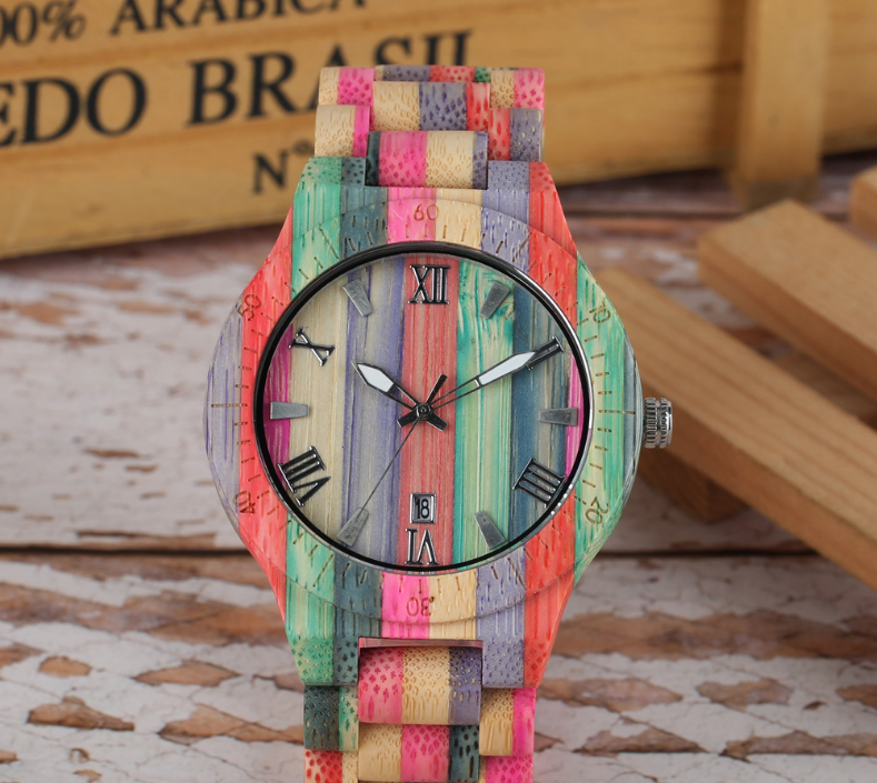 Slim fashion colorful bamboo and wood watch, wooden watch quartz watch wood table - FLJ CORPORATIONS