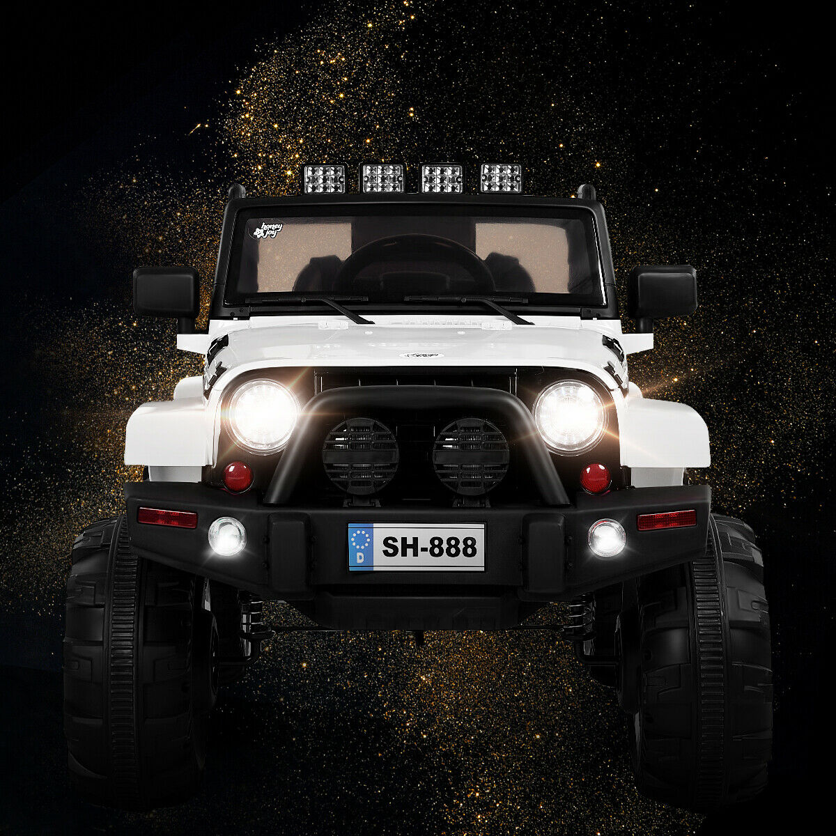 12V Kids Ride On Truck Car w/Bluetooth Remote Control MP3 Music LED Lights BlackPinkWhite - FLJ CORPORATIONS