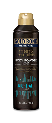 GOLD BOND Ultimate Men's Essentials Body Powder Spray, Nightfall Scent, 7oz - FLJ CORPORATIONS