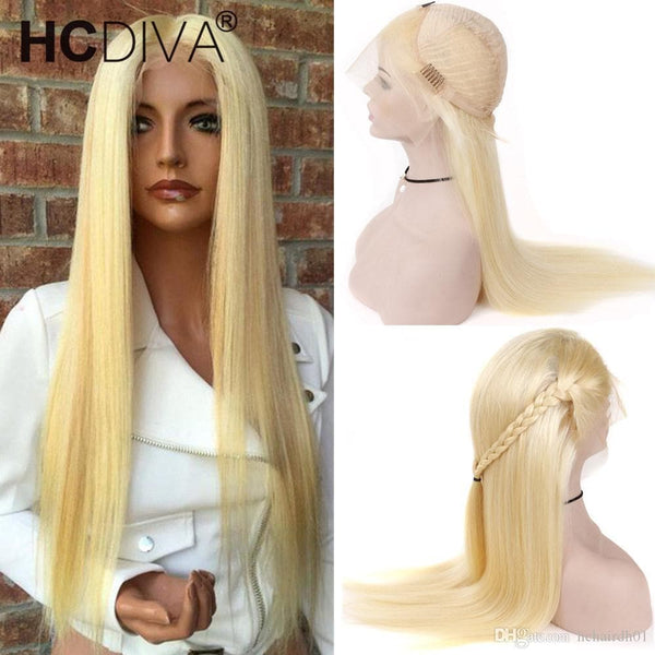 Blonde Full Lace Human Hair Wigs 613 Blonde Lace Frontal Human Hair Wigs Brazilian Virgin Straight Hair Transparent Lace Frontal Wigs - FLJ CORPORATIONS