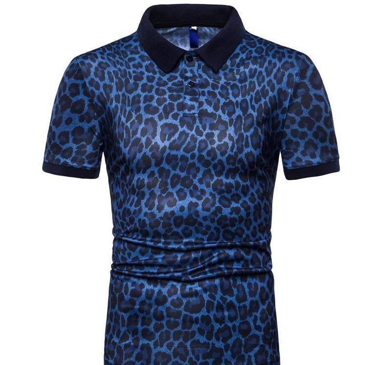 Men Leopard Polo Summer Designer Male Casual Fashion Polo Shirt Tees Short Sleeved Tops