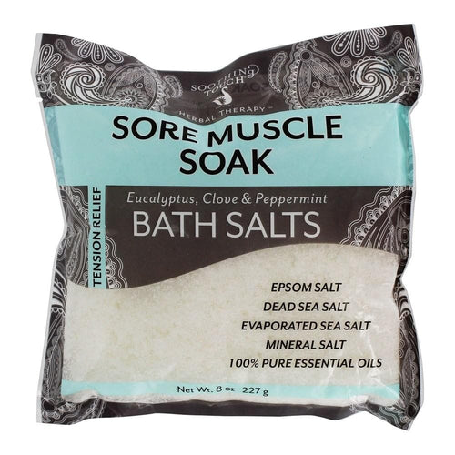 Soothing Touch - Herbal Therapy Tension Relief Sore Muscle Soak Bath Salts Eucalyptus, Clove & Peppermint - 8 oz. - FLJ CORPORATIONS