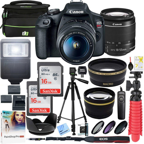 Canon EOS Rebel T7 DSLR Camera with EF-S 18-55mm f/3.5-5.6 IS II Lens Plus Double Battery Tripod Cleaning Kit and Deco Gear Deluxe Case Accessory Bundle - FLJ CORPORATIONS