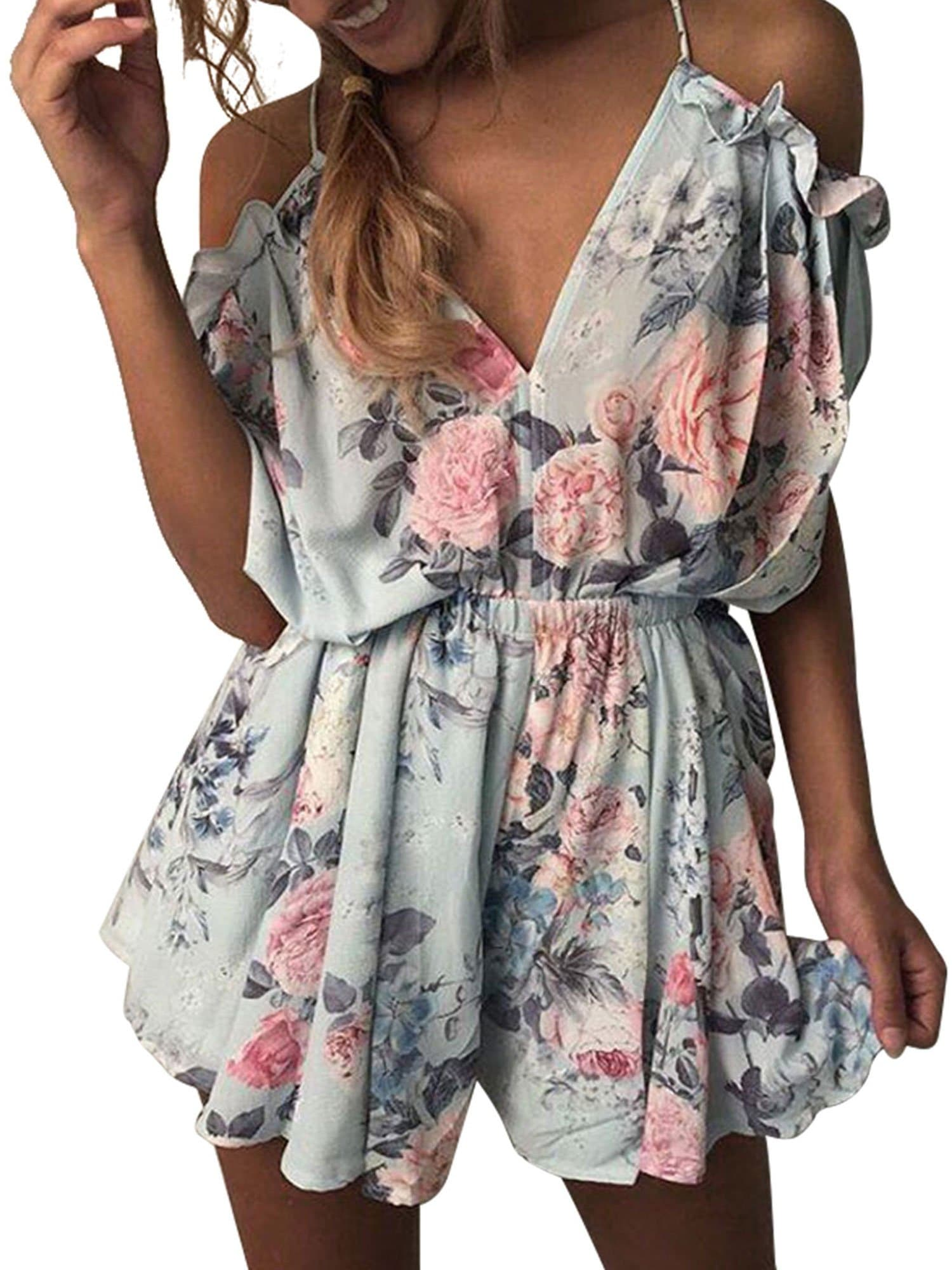 Backless Floral Spaghetti Romper - FLJ CORPORATIONS