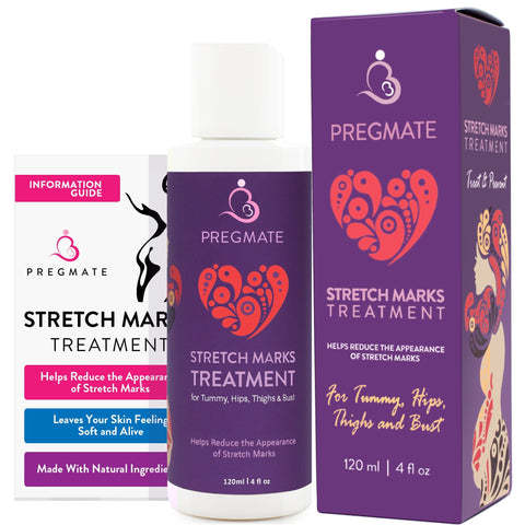 PREGMATE Stretch Mark Treatment Cream with Natural Ingredients Peptides Vitamin C Hyaluronic Acid Best for Pregnancy (4 fl oz / 120 ml) - FLJ CORPORATIONS