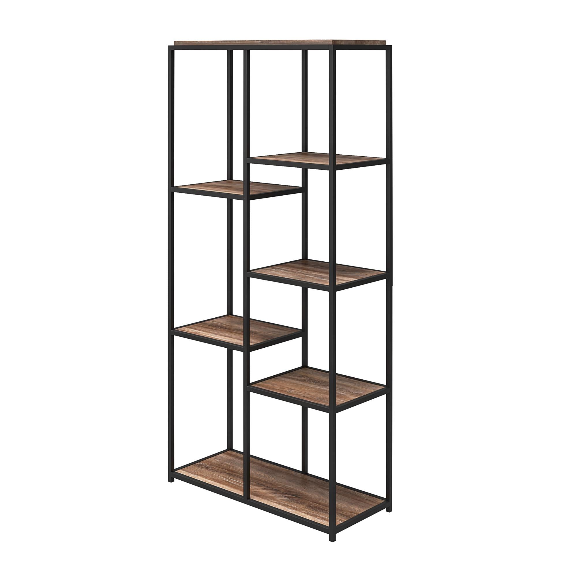 Queer Eye Quincy 5 Shelf Transitional Bookcase, Weathered Oak - FLJ CORPORATIONS