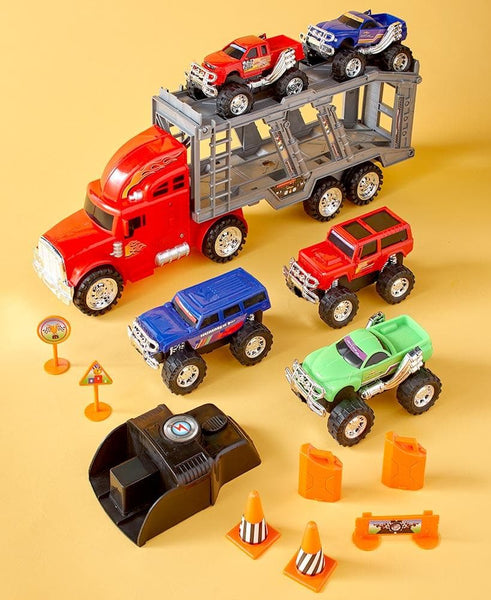14-Pc. Monster Truck Hauler Playset - FLJ CORPORATIONS