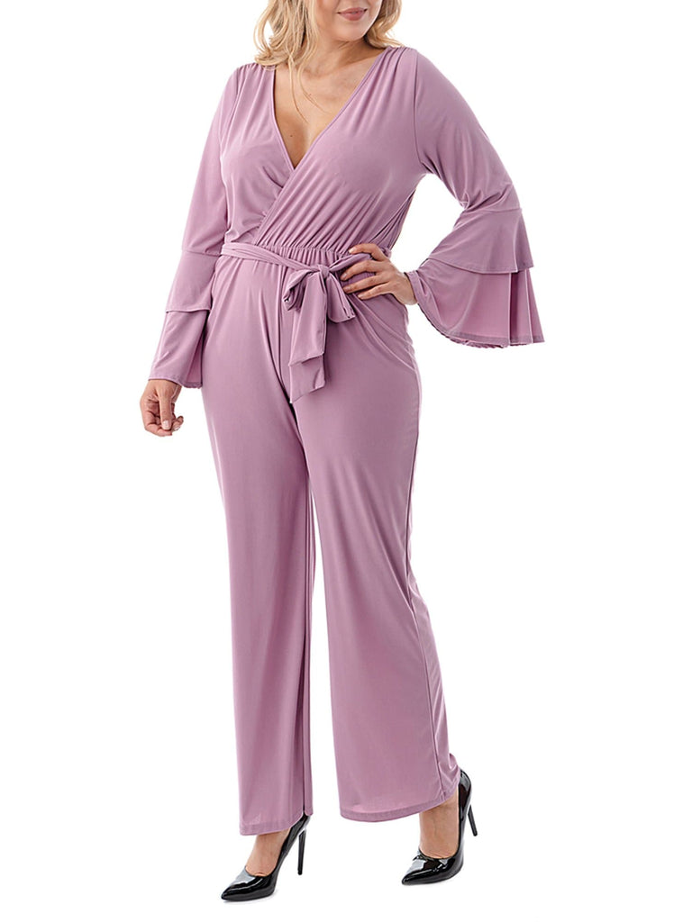 Plus Size Tiered Ruffle Sleeve Jumpsuit - FLJ CORPORATIONS