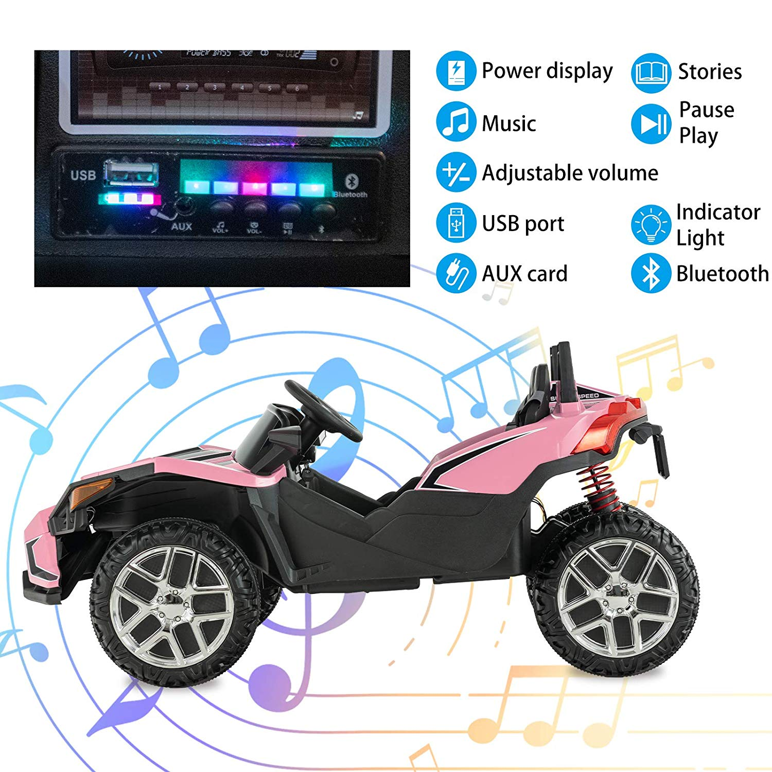 Uenjoy Kids Ride on Cars 12V Electric Motorized Vehicles Large Truck with Remote Control 2 Speed Pink - FLJ CORPORATIONS