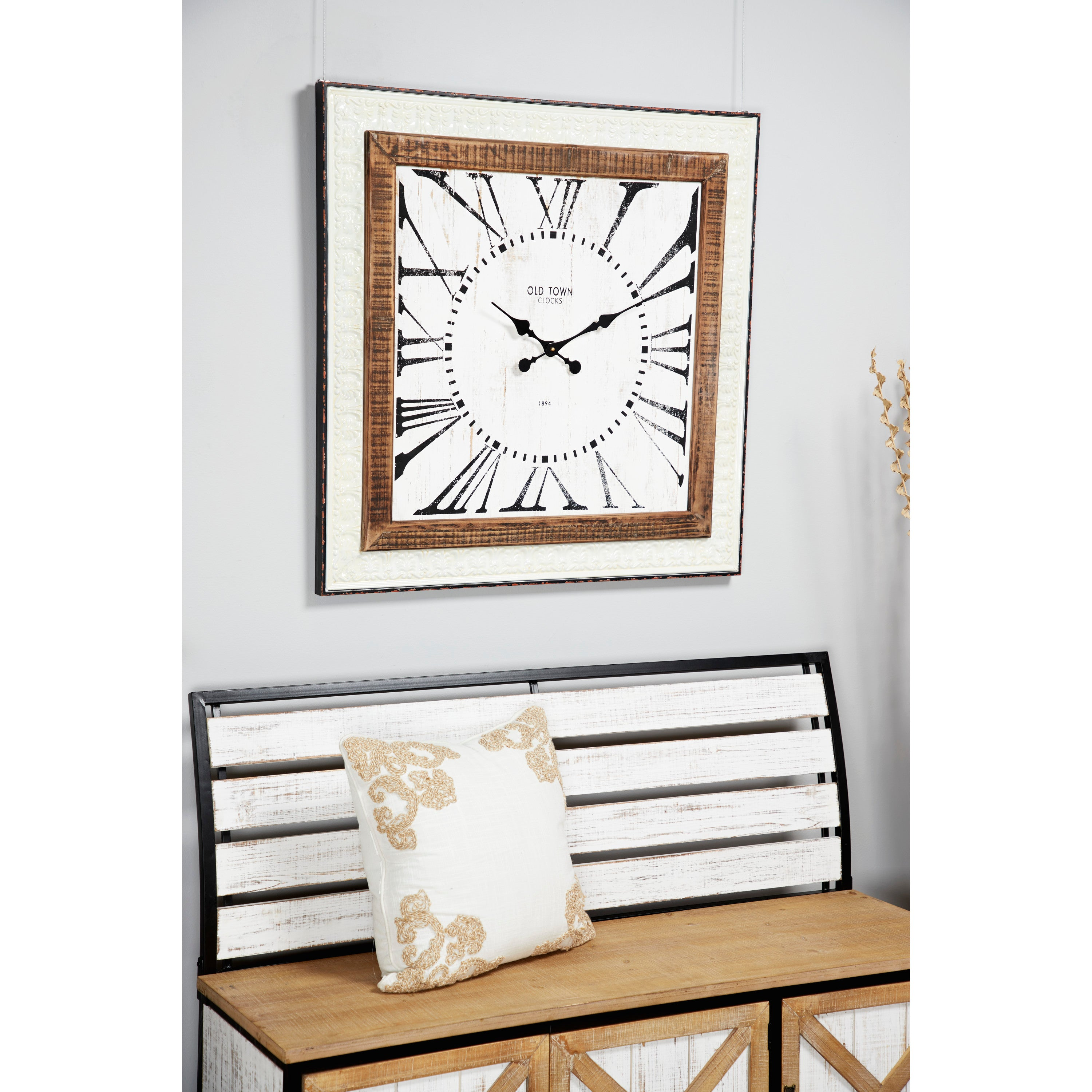 "Decmode 43603 Farmhouse Style Extra Large White Square Wood and Metal Wall Clock with Roman Numerals, 32""x 32"" - FLJ CORPORATIONS"