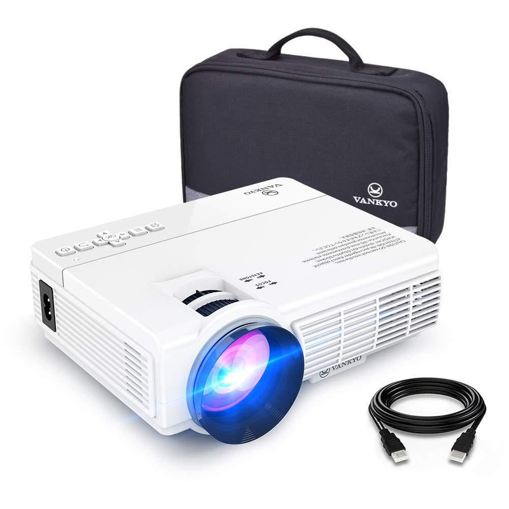 VANKYO Leisure 3 1080P Supported Mini Projector with 40000 Hours Lamp Life, LED Portable Projector Support 170'' Display, Compatible with TV Stick, PS4, HDMI, VGA, TF, AV and USB (White) - FLJ CORPORATIONS