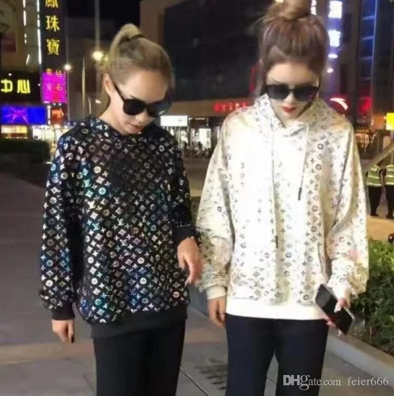 Spring new web celebrity, the same type of radiant bronzing hoodie, loose thin print jacket and blouse - FLJ CORPORATIONS