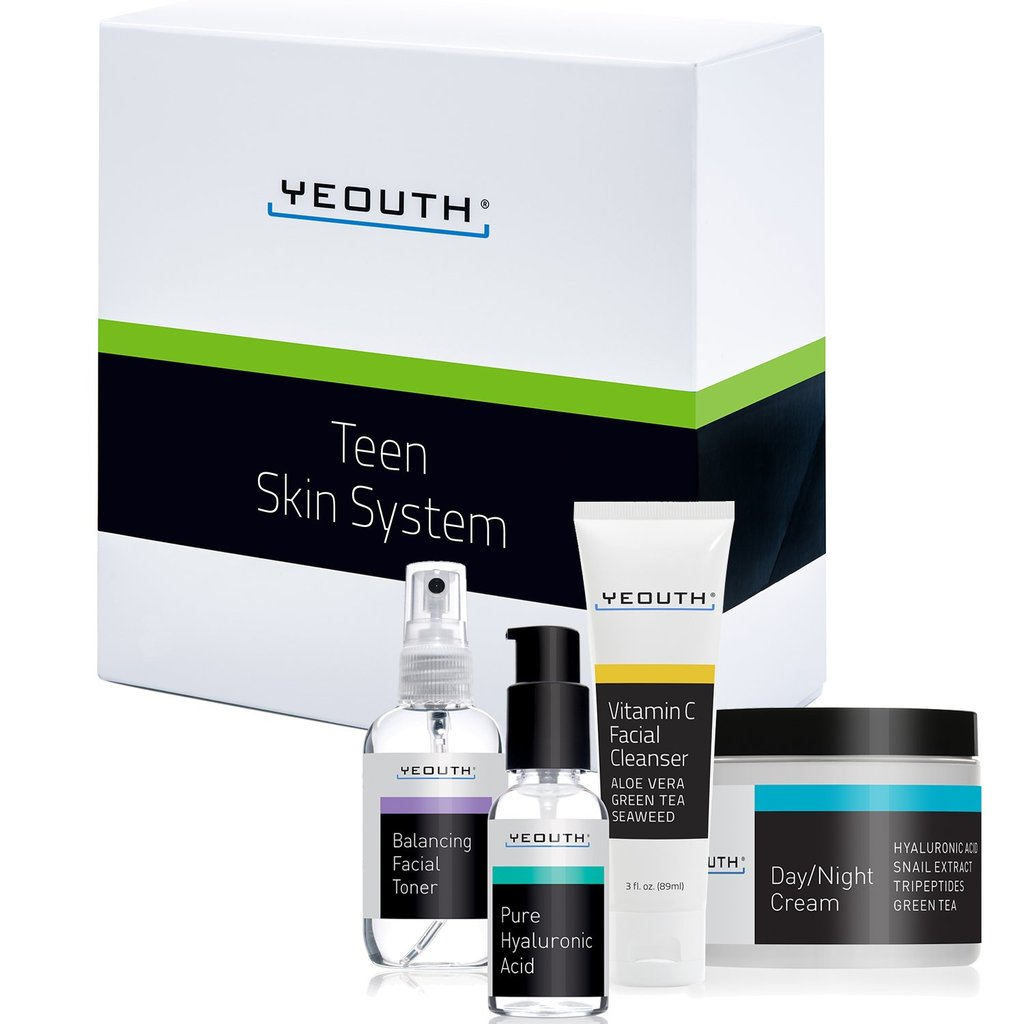 YEOUTH Teen Skin Kit Starter Set - Anti Aging Beauty Essentials - Vitamin C Facial Cleanser - Balancing Facial Toner for Face - Pure Hyaluronic Acid Serum - Day and Night Snail Cream Moisturizer - FLJ CORPORATIONS