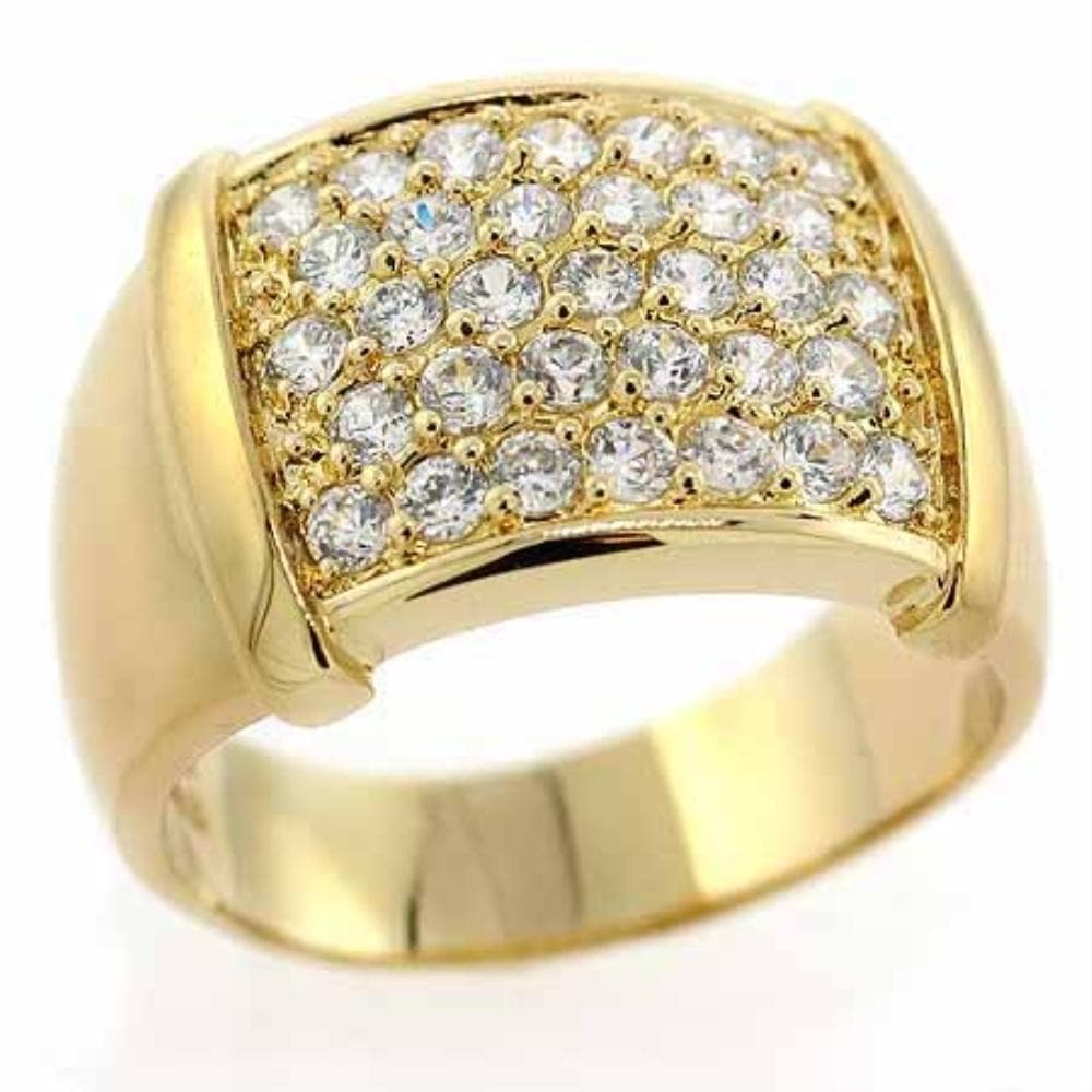 18K Gold over Sterling Silver CZ Pave Bold Mens Ring - FLJ CORPORATIONS